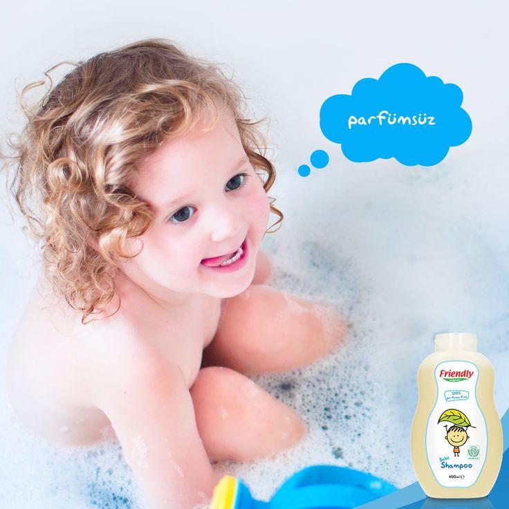 Paraben, Alkol, Alkali sabun, SLES, PEG ve Boyar madde içermeyen Friendly Organic Bebek Şampuanı ile banyo vakitleri hem çok keyifli hem de çok güvenli.