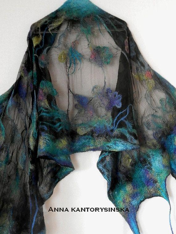nuno felted silk scarf shawl NIGHT FLOWER handmade art to wear, silk wool scarf, nuno felt, eco fashion by Kantorysinska