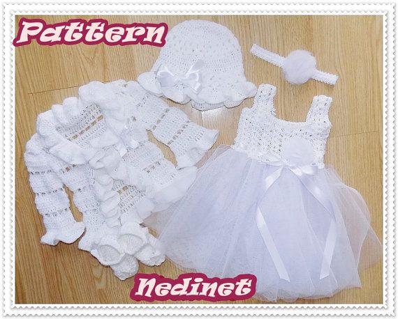 Crochet PATTERN crochet tulle baby dress set crochet pattern