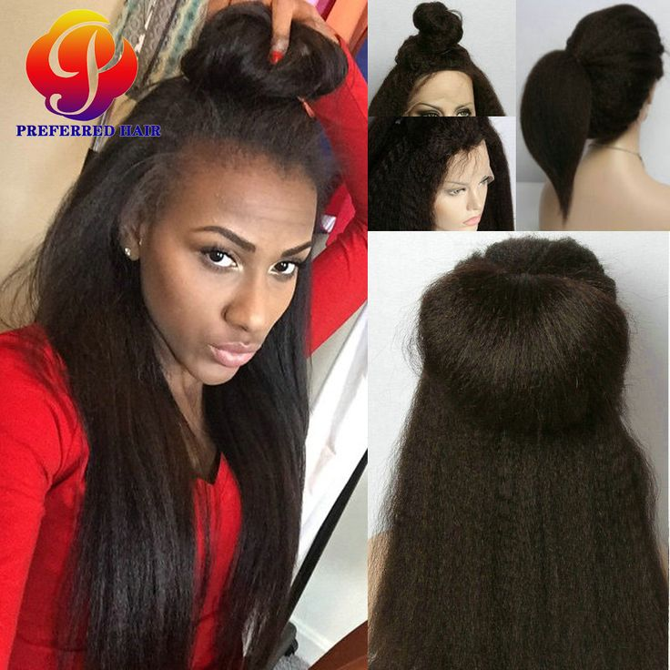 Find More Human Wigs Information about Remy Peruvian Kinky Straight Ponytail Full Lace Wig African American…