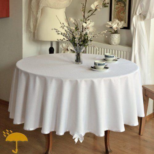 OBRUS OKRĄGŁY PLAMOODPORNY BIAŁY Z WSTĄŻECZKĄ Obrus okrągły plamoodporny, biały, deseń lnu, ozdobiony atłasową białą wstążeczką z atłasową kokardką.