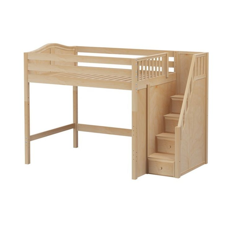 Natural - High Loft Bed w Staircase  Enormous  Curved  Double