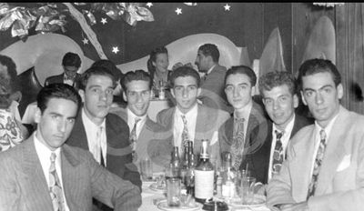 """Bookmakers mix with leg-breakers at the mob-controlled """"Latin Quarter"""" nightclub in Manhattan. Seated third from the right is a young burglar named Joseph """"Joe Yack"""" Yacovelli who 20 years later was appointed leader of the Columbo organization and credited with dispatching the team of gunmen that killed """"Crazy"""" Joe Gallo as he dined with family on his 43rd birthday."""
