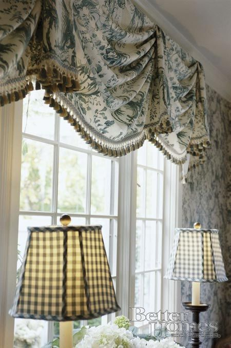 I've always liked a gathered valance with bells. Looks effortlessly elegant. Good combination of fabric & trim too.