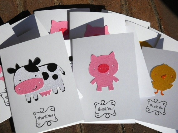 Cute idea for barnyard party thank you cards!  EIEIO Farm/Barnyard Thank You Cards Cows Pigs Horses by 62Cards, $12.50
