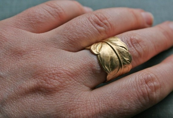 light feather  adjustable brass ring by chainchainchained on Etsy, $18.00