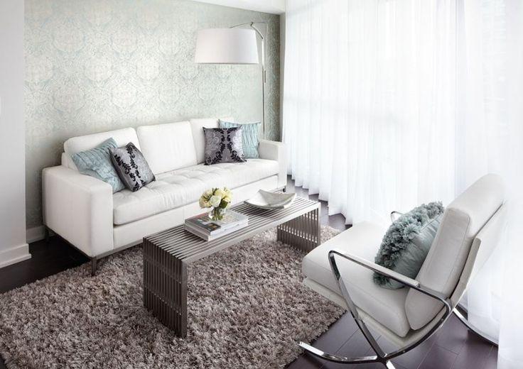 Toronto condo design for a small narrow living room for Condo living room ideas pinterest