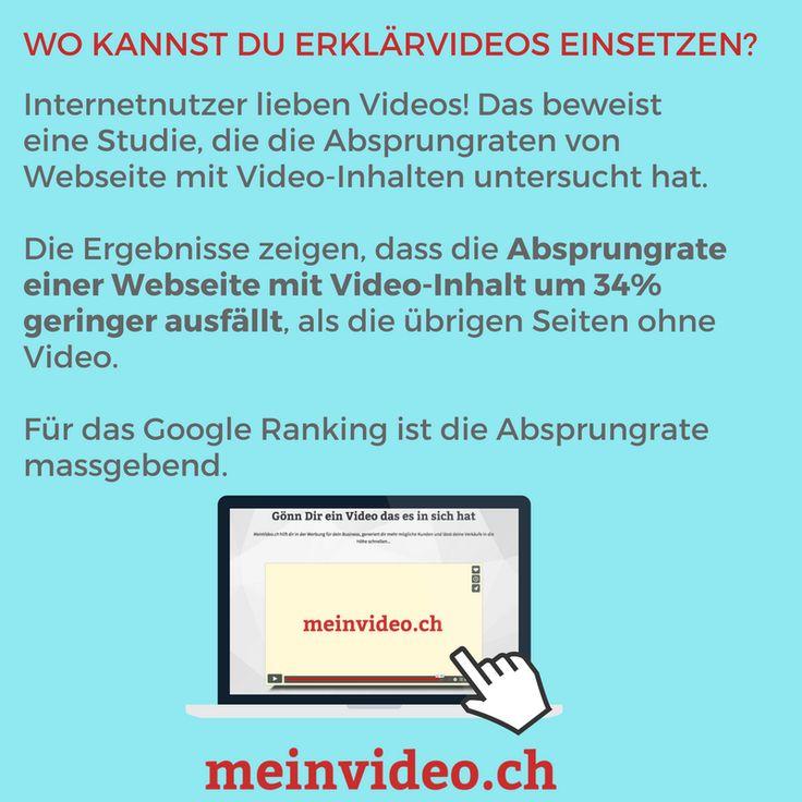 Wo kannst du dein Erklärvideo einsetzen?  Internetnutzer lieben Videos! Das beweist eine Studie, die die Absprungraten von Webseite mit Video-Inhalten untersucht hat.  Die Ergebnisse zeigen, dass die Absprungrate einer Webseite mit Video-Inhalt um 34% geringer ausfällt, als die übrigen Seiten ohne Video.  Für das Google Ranking ist die Absprungrate massgebend.  Bestelle dir DEIN VIDEO unter: http://amp.gs/p4sI