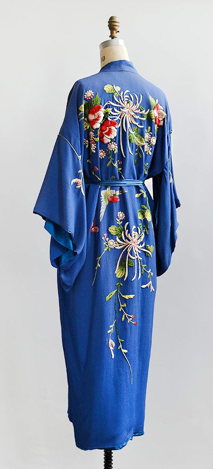 vintage 1940s blue vibrant embroidered silk kimono robe from Adored Vintage