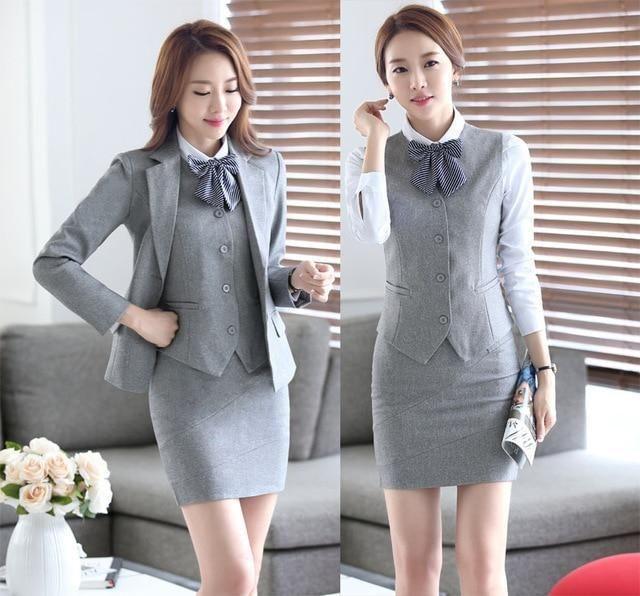 f1e956dca60 Professional Formal Uniform Design Autumn Winter Business Suits 3 Pieces  Jackets + Skirt + V Ladies