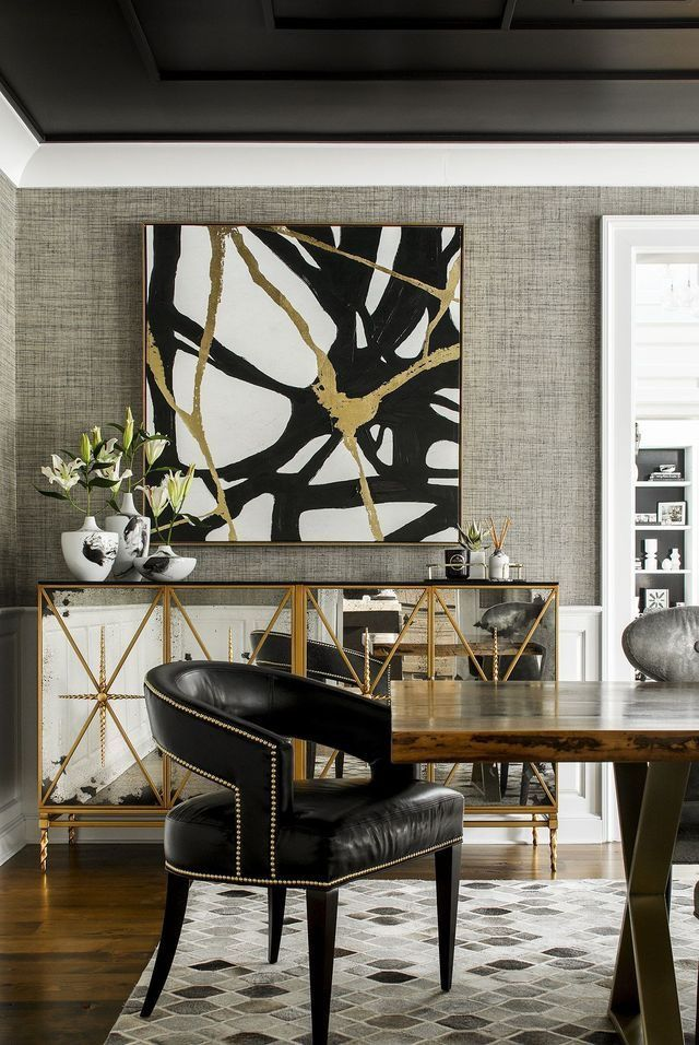 We Love This Glamorous Modern Dining Room With Black And Gold