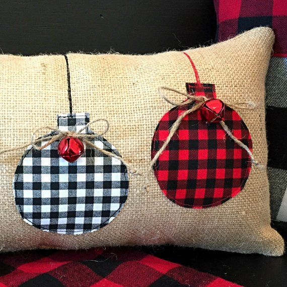 Burlap Christmas Pillows, Buffalo Plaid Christmas Pillow, Buffalo Plaid Christmas, Farmhouse Christmas, Christmas Pillow, Rustic Christmas