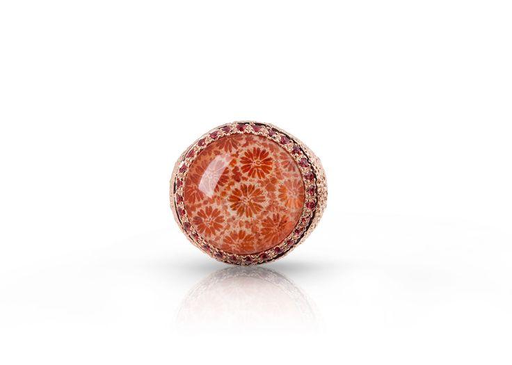Anello argento,anello oro rosa,anello corallo,anello zaffiri,anello per donna,anello regalo,oro rosa,corallo fossile,idea regalo di Modellart su Etsy