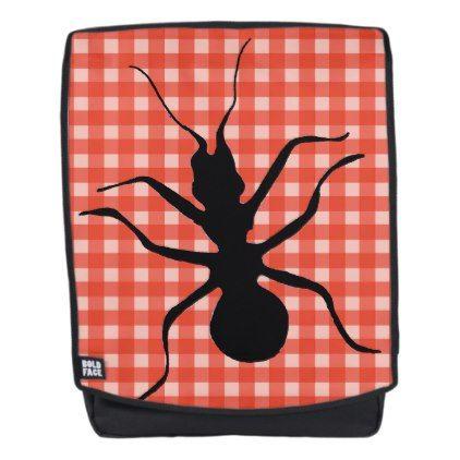 Big Black Ant Illustration on Red White Plaid Backpack - patterns pattern special unique design gift idea diy