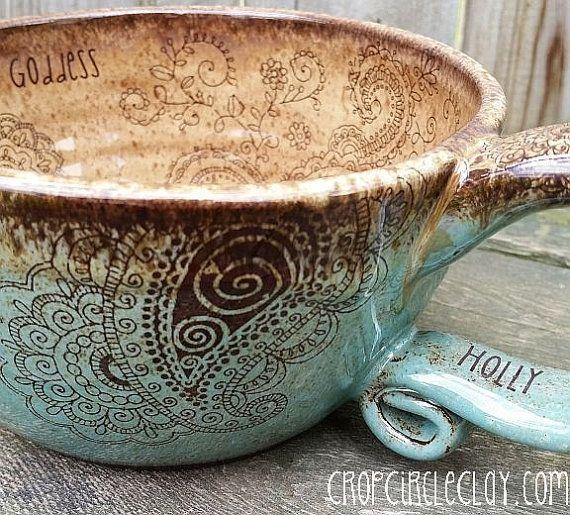 PERSONALIZED Made To Order Pottery Soup Mug Bohemian Oversized Coffee Mug…