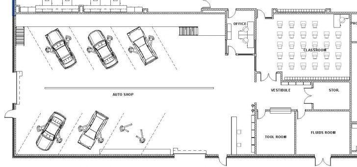 House Plan Automotive Shop Floor Unique Plans Craftsman Bungalow Auto Notes Bays For Work One Overhead Automotive Shops Auto Service Center Auto Service