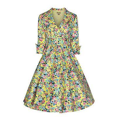 Swing Vivi jurk met bloemen print geel - Vintage, 50's, Rockabilly, retro