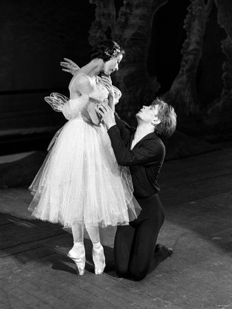 Rudolf Nureyev and Margot Fonteyn during rehearsals for 'La Syphide' at the Royal Ballet at Covent Garden.