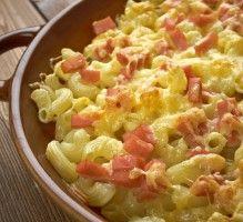 Recette - Gratin de pâtes aux lardons & à la mozzarella
