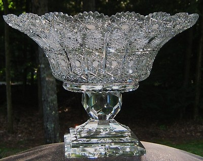 Gorgeous Brilliant Crystal Cut Glass Huge Centerpiece Bowl | eBay