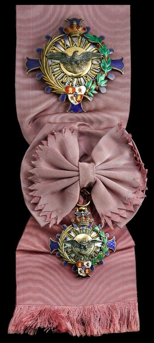 SPAIN (Kingdom) - Order of Alfonso XII, Knight Grand Cross, sash Badge, 55mm, silver-gilt and enamel, engraved in running script 'Alumnos de 5.Y 6.Ano Curso 1924-25 Valladolid'; Star, 86mm