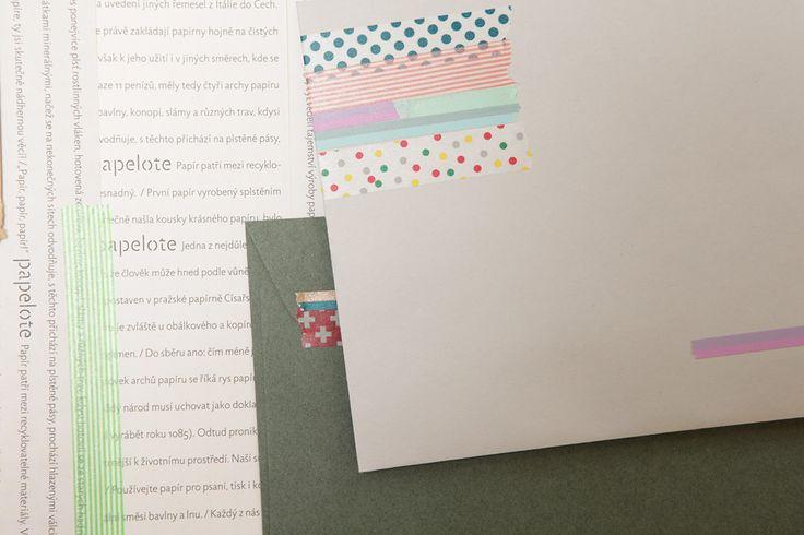 MT pásky, Mt tapes, washi tapes, japonské dekorační lepicí pásky z rýžového papíru, transparentní, popisovatelné, odnímatelné, designové, hravé dekorace, dopis, envelope, papelote - nové české papírnictví