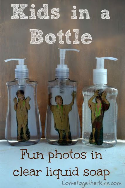 Kid in A Bottle! Let kids make these themselves during holidays. Tutorial: http://www.cometogetherkids.com/2013/08/kid-in-liquid-soap-bottle-funny-photo.html (If using old photos, scan with iPhone / iPad + Pic Scanner app, and reprint. Click to download)