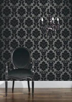 Classics Regency Damask Wallpaper - Black and Silver in Home, Furniture & DIY,DIY Materials,Wallpaper & Accessories | eBay