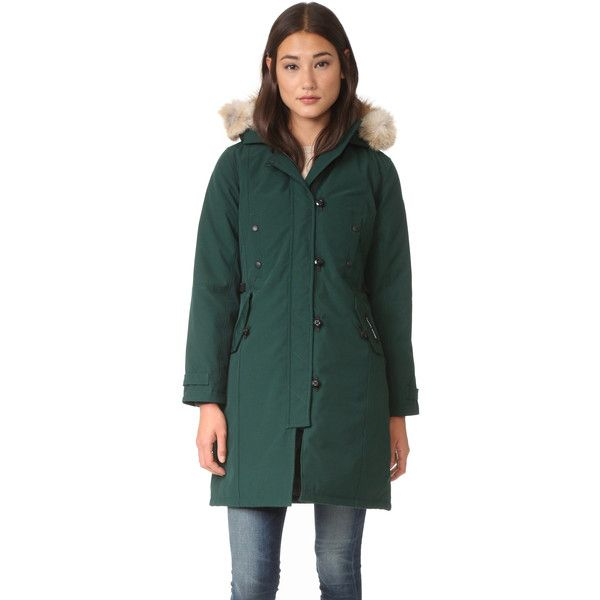 Canada Goose Kensington Parka (3,190 ILS) ❤ liked on Polyvore featuring outerwear, coats, algonquin green, green fur parka, green fur coat, water resistant coat, parka coat and canada goose