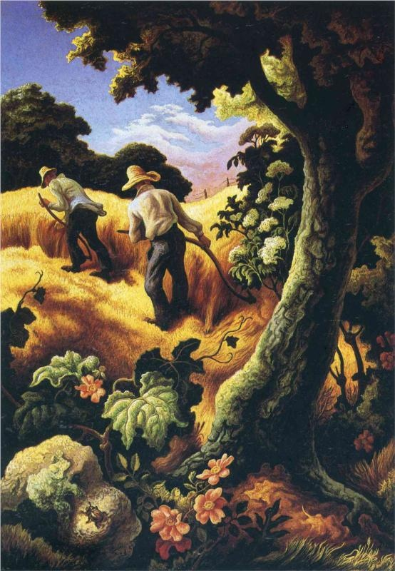 Threshing Wheat - Thomas Hart Benton - WikiPaintings.org