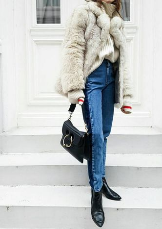 Faux fur and denim are always a must.