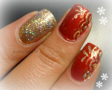 Tutorial Nail Art Holiday's Brilliant Gold&Red Accent Nail Art - Tentazione Unghie