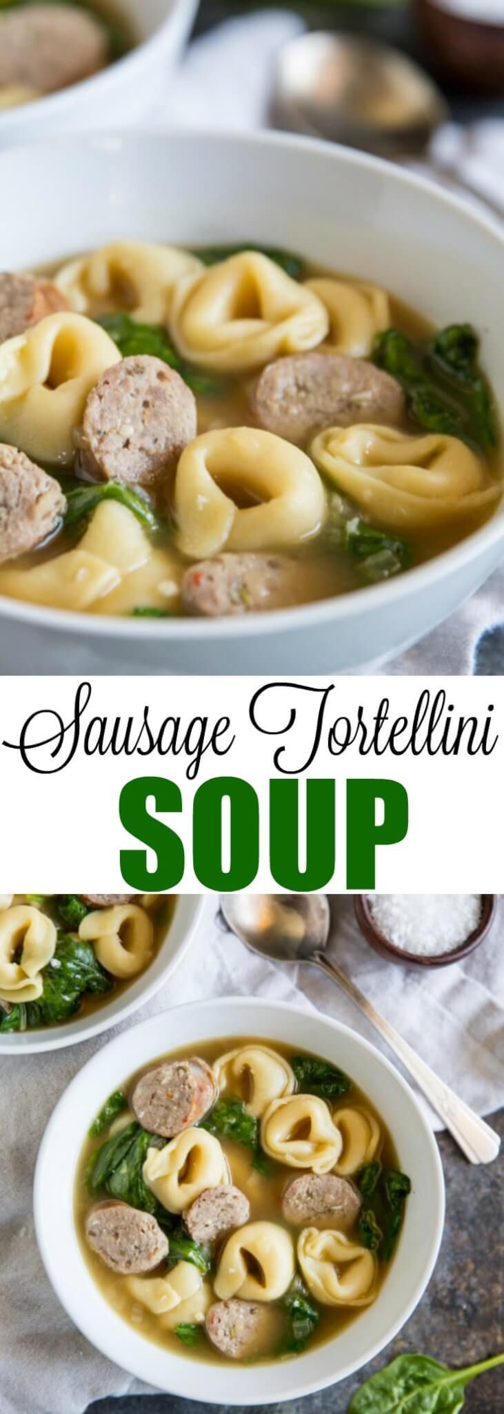 A quick and easy dinner made with frozen cheese tortellini and Italian sausage! Lots of great flavors in this recipe and it's ready in 30 minutes or less. via @culinaryhill