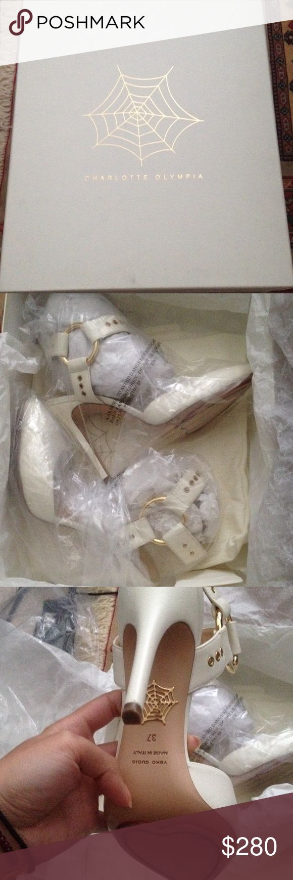 Charlotte Olympia  shoes Luxury Italian designer , hand made leather shoes , withe , size :37 , made in Italy , with original box and shoes bag, gently used Charlotte Olympia Shoes Heels