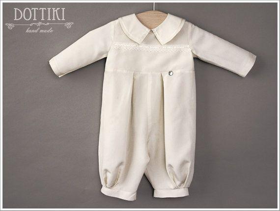 Christening Silk Romper, Baptism Romper, Baptism Outfit, Boys Baptism Outfit, Silk Baptism Jumpsuit, Newborn Boy Suit