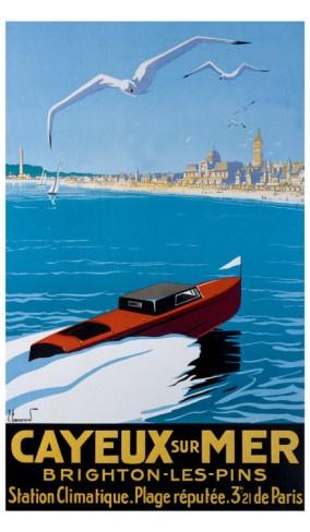 Cayeux-sur-Mer - French Riviera Cote d'Azur France Vintage travel poster #beach #riviera #essenzadiriviera - www.varaldocosmetica.it/en  - arrière bateau tractant la buche