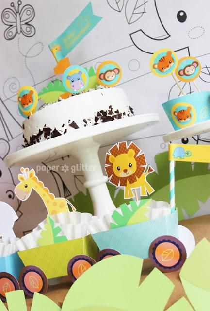 Cute Jungle themed birthday party via Kara's Party Ideas. This whole party set can be purchased for only $TEN dollars! www.KarasPartyIdeas.com