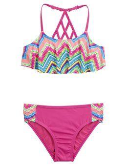 Chevron Flounce Bikini Swimsuit