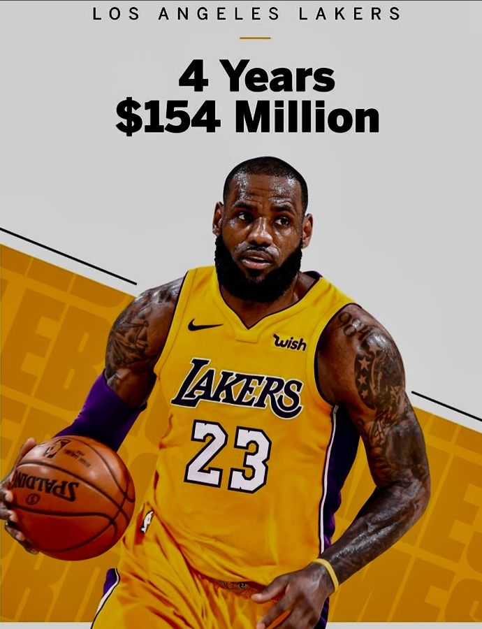 Lebron Signs A 4 Year Deal With The Los Angeles Lakers Worth 154m Lebron James Lakers Los Angeles Lakers Lebron James