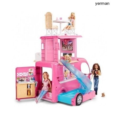Barbie Camper Van Pop Up Vehicle Pool Play Set Pink Adventure Doll Toys New #Mattel