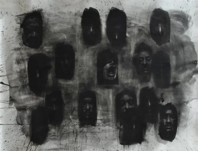 made by nikolas christoforakis charcoal on paper,faces,windows