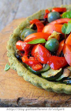 Crostata al basilico con verdure grigliate facile veloce vickyart arte in cucina