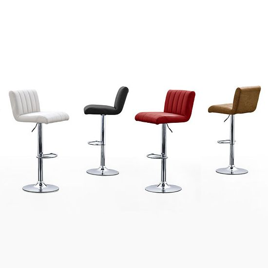 Cool Ribbed Red Faux Leather Seat Gas Lift Bar Stool - Bar Stools, Modern & Contemporary, Furnitureinfashion UK