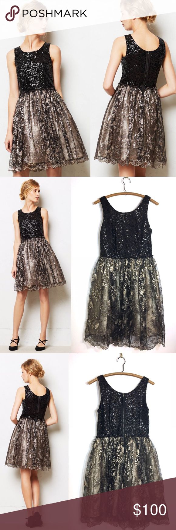 "Anthropologie Leifsdottir Eclat Dress Black & Gold Every closet needs a showstopping, head-turning, sparkly-as-can-be party dress at the ready. On our guest list: leifsdottir's mega-watt fit-and-flare. Back zip. Nylon, metallic fibers. BEAUTIFUL Leifsdottir Anthropologie women's sequin and metallic gold special occasion dress in a size 6, good used condition underarm to underarm:  16.5"" back of neck to bottom hem:  33"" shoulder strap to bottom hem:  38"" Chest: 34"" Waist: 28"" Anthropologie…"