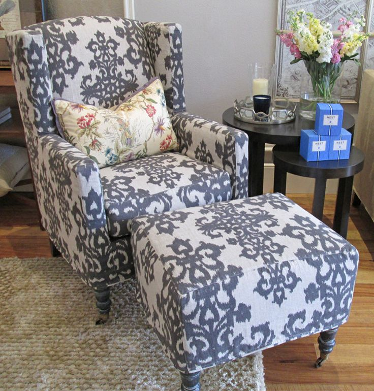 Ikat wingback chair and ottoman slipcovers upholstery