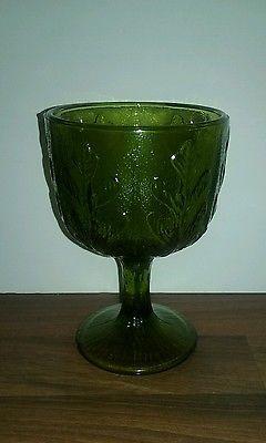 Goblet Vase Oak Leaves Planter FTD 1975 F.T.D. Vintage Avocado Green Glass