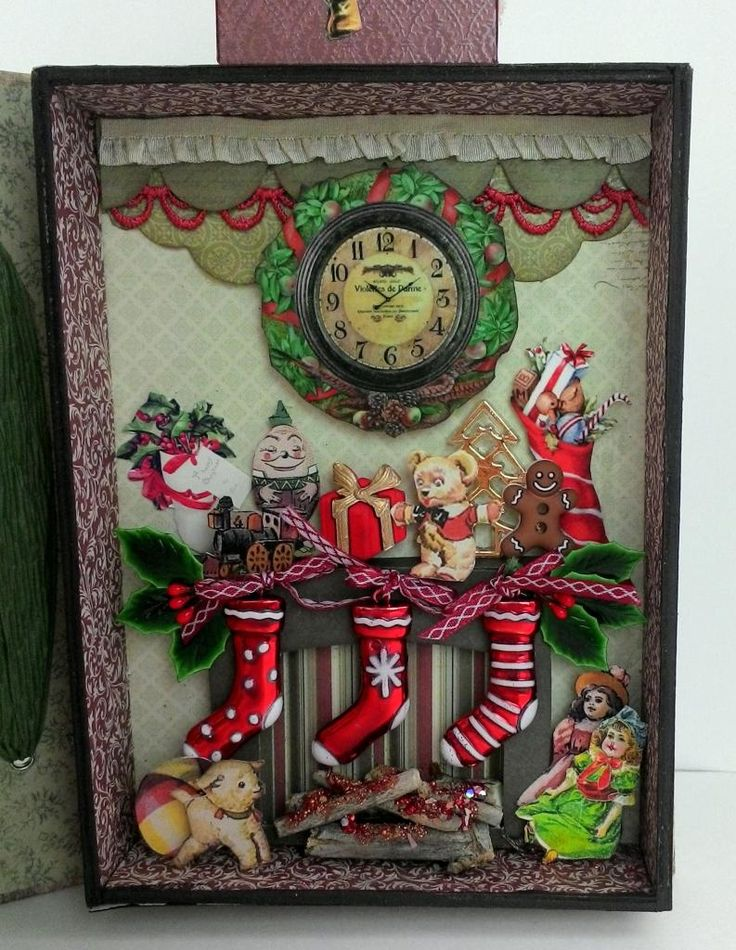 In this piece, Santa's just been down the chimney delivering toys to all the little girls and boys.  As soon as I saw the Tim Holtz Chri...