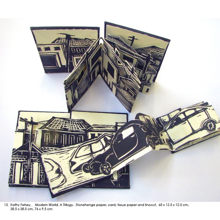 Kathy Fahey, Modern World. A Trilogy, Stonehenge paper, card, tussue paper and linocut, 65 x 12.5 x 12.5 cm, 38.5 x 38.5 cm, 76 x 9.5 cm