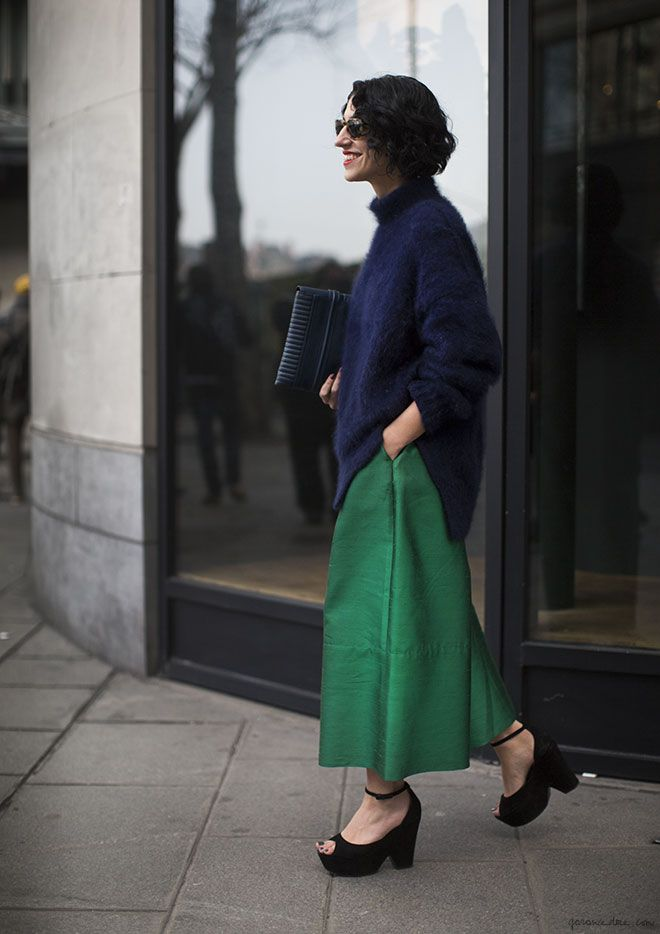 YASMIN SEWELL IN BLUE, SHOES, SUNGLASSES, BLACK, PANTS, CLUTCHES, SWEATERS, REECE HUDSON, GREEN.