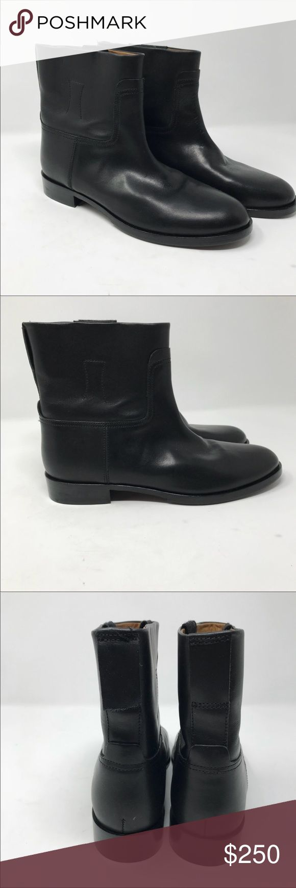 """Rag and Bone Holly black Moto boots New with defect. The back pull strap is ripped off need a new stitching . Moto style ankle boots. Clean, modern minimalism defines a pull-on ankle boot shaped from rich Italian leather. 1"""" heel ,5 1/2"""" boot shaft, almond toe,  - Black calf leather upper, leather lining and sole - By rag & bone; made in Italy Comes with original dust bag size 39 best fit for size US 8 rag & bone Shoes Combat & Moto Boots"""